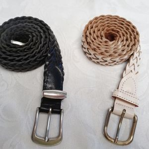 Set of two Vintage Genuine Braided Leather Belts